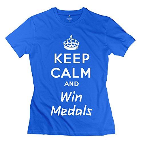 GLYCWH Women's Keep Calm Win Medals T-Shirt RoyalBlue US Size XS Crew Neck