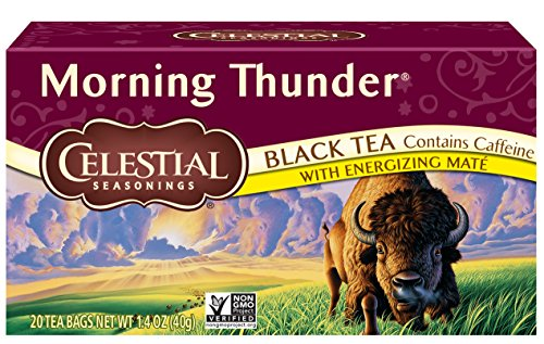 Celestial Seasonings Black Tea Honey - Celestial Seasonings Black Tea, Morning Thunder with Maté, 20 Count (Pack of 6)