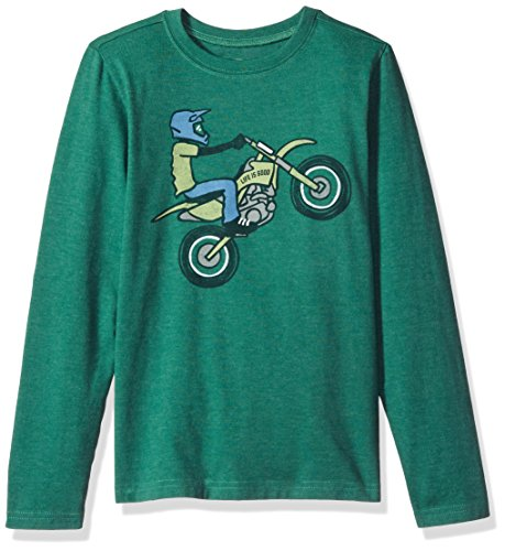 Life is good Long Sleeve Boys Tee Dirt Bike Rider, Heather Forest Green, (Bike Long Sleeve Tee)