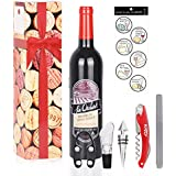 Wine Opener Accessories Gift Set - 5 Pcs Wine Bottle Corkscrew Screwpull Kit by Kato, Great Wedding and Birthday Gifts for Wine Lovers, Red