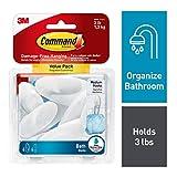 Command 076308728595 paquete de baño de calidad, transparente esmerilado, 6 ganchos, 6 tiras medianas resistentes al agua (BATH18-6ES)
