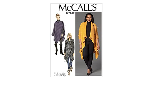 McCalls Patterns 7262 B5,Misses//Womens Sweater Coat and Poncho,Sizes 8-10-12-14-16
