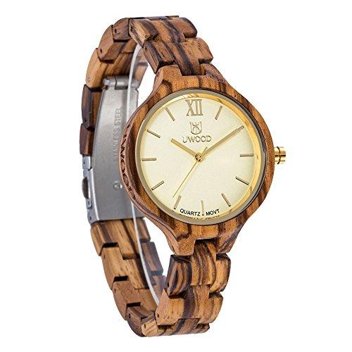 UWOOD Women Wooden Watches Analog Swiss-Quartz Watch with Wood Bracelet (Brown)