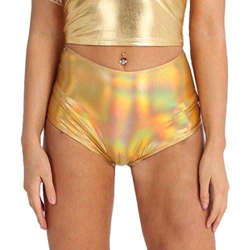 (Alvivi Women Shiny Metallic Hologram High Waisted Booty Shorts Rave Dance Bottoms Panties Gold Medium)