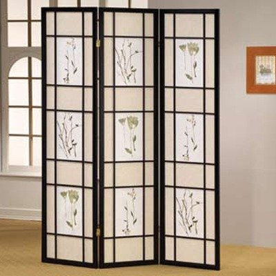 - Legacy Decor Floral Accented 3-panel Room Screen Divider, Black Wood Framed