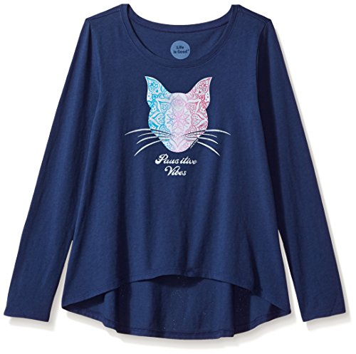 (Life is good Girl's Long Sleeve Cat Pattern T-Shirt, Darkest Blue, Large)