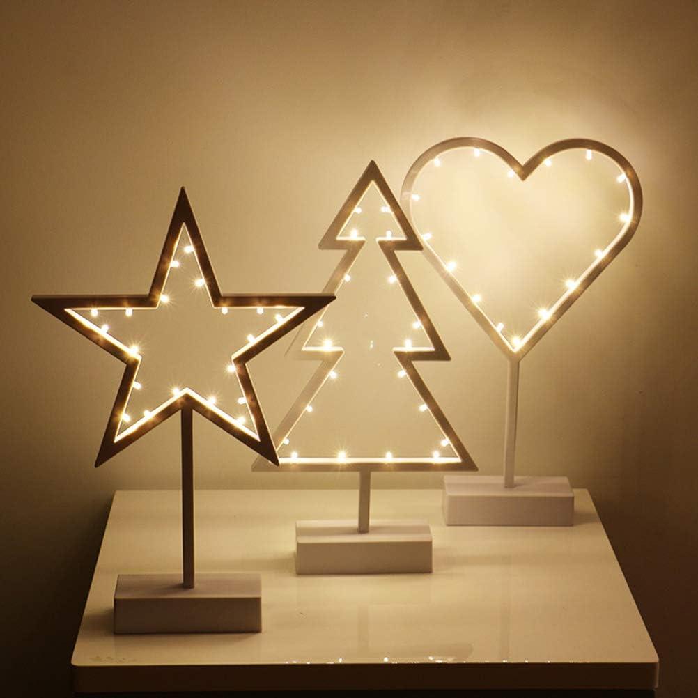 Lámpara LED de noche luz pentagonal al lado de la cama luz suave y color impermeable lámpara de mesa de noche decoración estilo navideño: Amazon.es: Iluminación