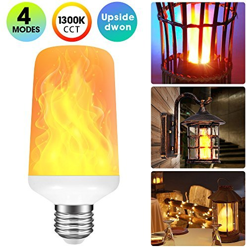 Rinuo LED Flame Effect Light Bulb with 4 Lighting Modes and Upside-down Feature, E26 Standard Base Bulb for Home/Hotel/Bar/Restaurant Decoration -