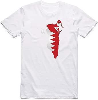 White Bahrain Flag T-Shirt For Men