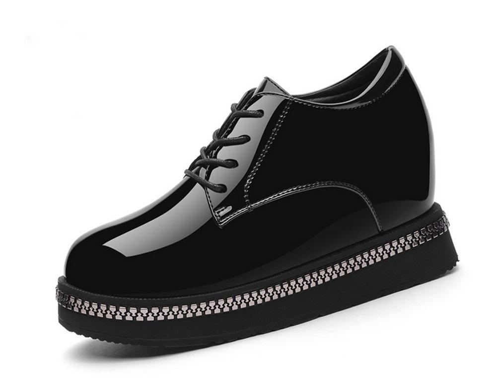 Frau mit schweren Boden Plateauschuhe Schuhe dem Frühlings-Frau kleinen Lederschuhs in dem Schuhe höheren Absatzschuh Frauenschuh schwarz 3235cb