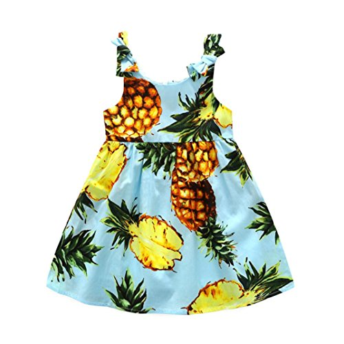 CSSD Toddler Kids Baby Girls Pineapple Strap Princess Dress Sundress Outfits Clothes (110, Blue)