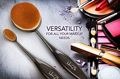 Makeup Brushes by HanZá - 10 PIECE Professional Oval Makeup Brush Sets For Powder, Blush, Foundation, Concealer, Eyeliner, Eye Shadow, Etc. Easily Blends and Contours Cosmetics