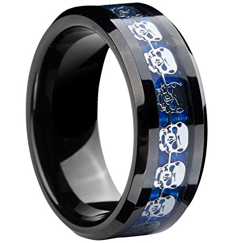 Gnex 8mm Infinity Black Blue Tungsten Wedding Ring Silver Skull Skeleton Inlay Couples Jewelry Size 10.5 ()