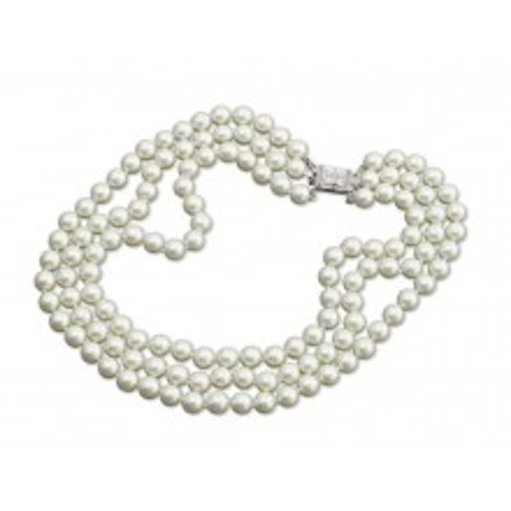 Simulated Pearl Necklace Rhinestone Faux Diamond Clasp Kenneth Lane Jewelry 3 Rows 10mm Pearls Jackie Kennedy Repro