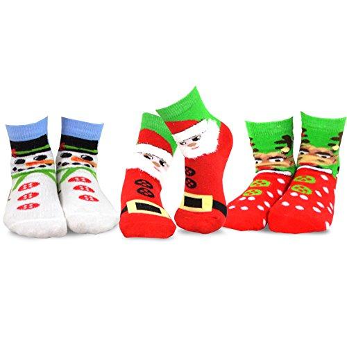 TeeHee Christmas Kids Cotton Fun Crew Socks 3-Pair Pack (3-5Y, Christmas - Th Face
