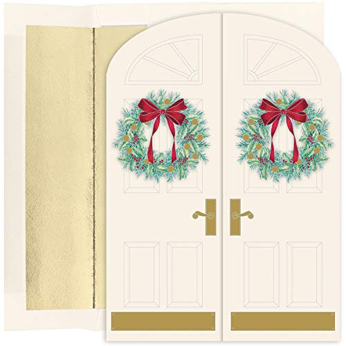 Masterpiece Studios Holiday Collection 16 Cards / 16 Foil Lined Envelopes, Holiday Doorway