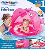 SwimSchool Pink Fun Fish Fabric Baby Boat, Splash and Play, Safety Seat, Extra-Wide Inflatable Pool Float, Retractable Canopy, UPF 50, 6 to 24 Months, Pink