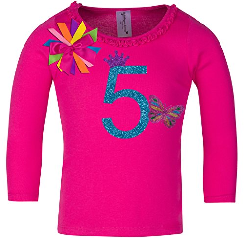 Bubblegum Divas Little Girls' 5th Birthday Butterfly Hot Pink Ruffle Long Sleeve Shirt (Butterfly Fairy T-shirt)