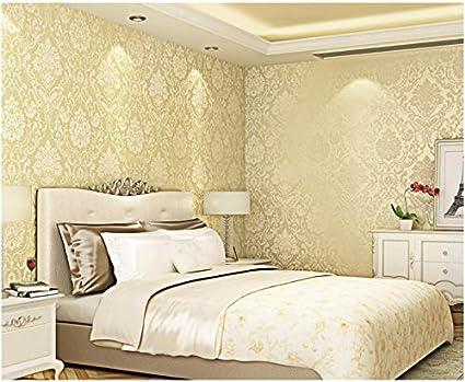 Pa/ño Pintado Flor De Damasco De Lujo 3D Amarillo Claro No Tejido Papel De Pared Dormitorios Sal/ón Hotel Fondo De Tv Elegante Moderno Fine Decor