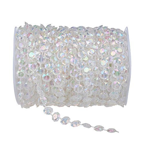 HYBEADS 99 ft Clear Crystal Like Beads by the roll Wedding - Crystal Bead Beaded