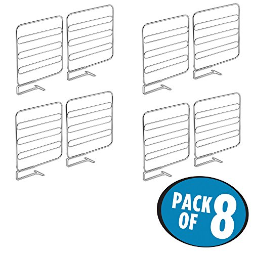 mDesign Versatile Closet Shelf Divider and Separator for Storage and Organization in Bedroom, Bathroom, Kitchen and Office Shelves - Easy Install, Sturdy Wire Construction - Pack of 8, Chrome Chrome Divider
