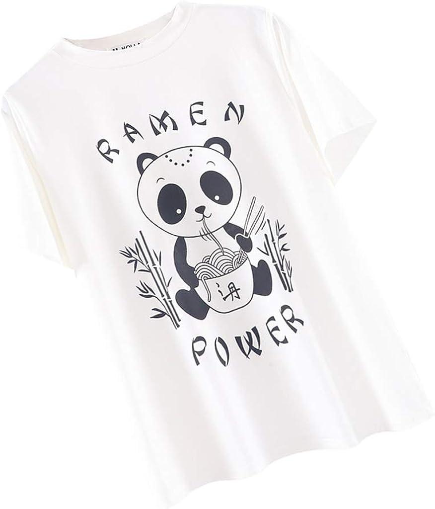 D DOLITY Camiseta Oversize Blanca Panda Gráfico Manga Corta ...