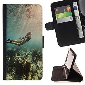 Jordan Colourful Shop - diving ocean woman beautiful light sea For Samsung Galaxy S3 III I9300 - < Leather Case Absorci????n cubierta de la caja de alto impacto > -