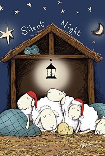 Toland Home Garden Silent Night 28 x 40 Inch Decorative Cute Barnyard Christmas Sheep Nativity House Flag