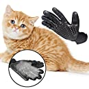 Swissdigital Pet Grooming Glove, Five Finger Deshedding Glove Brush Gloves for Dogs Cats Horses Grooming Tool Furniture Pet Hair Rmover Mitt, One Pair,Black