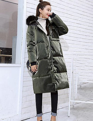 Coat Out Down Solid XL Women'S Green Army Simple Polypropylene Going Long ZHUDJ Cotton Sleeves UwEBqXx5w