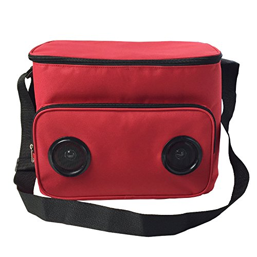 Luckiplus Insulated Bluetooth Speaker Cooler Bag Picnic Cooler Bag for Outdoor Traveling (Red)