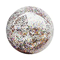 Vosarea 16 Inches Transparent Sequin Inflatable Ball Summer Funny Water Fun Play Beach Ball Pool Ball Party Favor for Kids Children