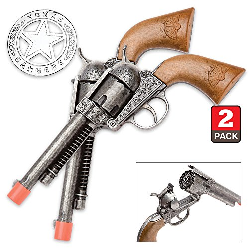 Parris Texas Ranger Double Holster Set with 2 Repeater Pistols, Badge, and Belt - Cap Costumes Set