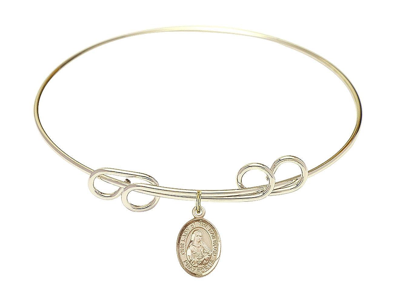 DiamondJewelryNY Double Loop Bangle Bracelet with a O//L of The Railroad Charm.
