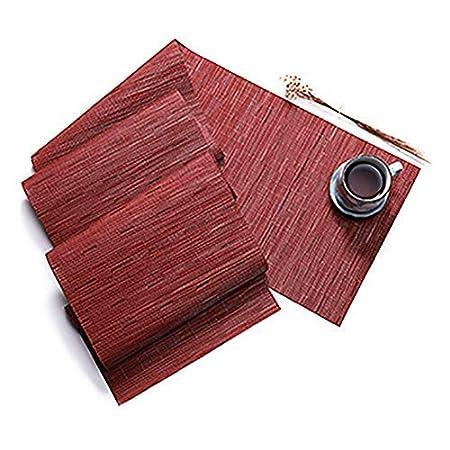 DELIBEST Camino de Mesa de PVC de Color sólido, Mantel de bambú ...