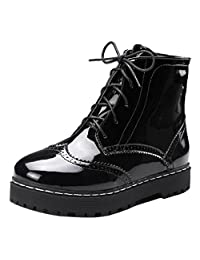 TAOFFEN Women Casual Platform Brogue Shoes Martin Ankle Boots