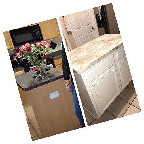 36'' W x 240'' L Peel and Stick White Riviera Creme Brulee Marble Self Adhesive Counter Top Vinyl Film Update by EZ FAUX DECOR (Image #7)