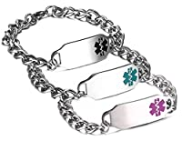 JF.JEWELRY Stainless Steel Medical Alert ID Bracelet for Women and Men,Pink,Free Engraving