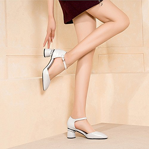 Low Shoes Heel Strap Dress Mid Evening Sandals Summer Party White Block Women's Ankle Leather For aW1YZw58q