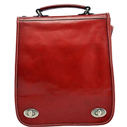 1b3802365348c Schultertasche Un Rucksack Aus Echtem Leder Farbe Rot - Italienische  Lederwaren - Rucksack