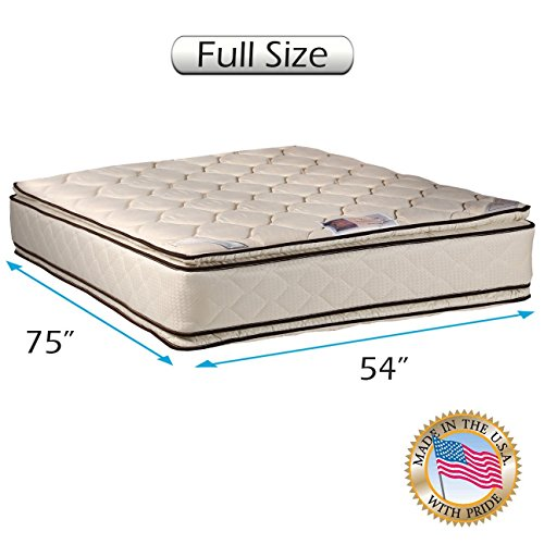 Dream Solutions USA Coil Comfort Two-Sided Pillow Top Full Mattress Only with Mattress Cover Protector Included - Fully Assembled, Orthopedic, Good for Your Back, Longlasting - Sided Mattress Top Pillow Full