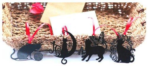 City Block Stainless Steel Black Cat Bookmark Set of 4pcs (Series B)