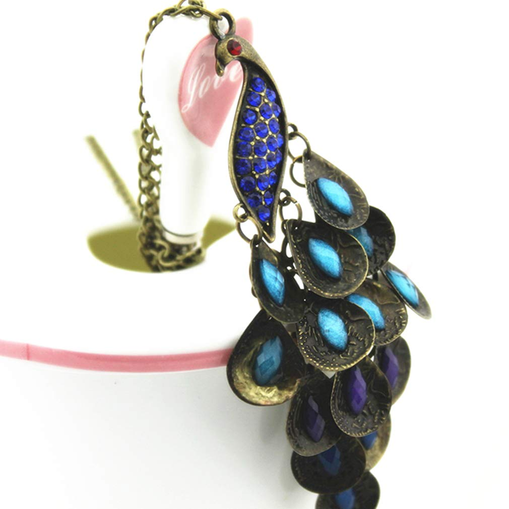 Dolland Vintage Peacock Statement Necklace Women Vintage Costume Necklace Carved Pendant Jewelry,Royal Blue
