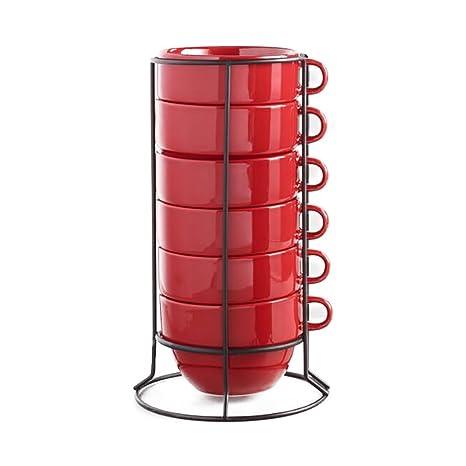 Amazon.com: Red Stacking Mugs with Black Matte Finish Rack - Set of ...