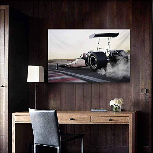 duommhome Cars Simulation Oil Painting Dragster Racing Down The Track with Burnout Competition Speed Sports Technology Decorative Painted Sofa Background Wall 32