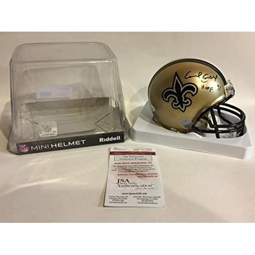 173a29d88 Earl Campbell Signed New Orleans Saints Gold Mini Helmet  5 - JSA Certified