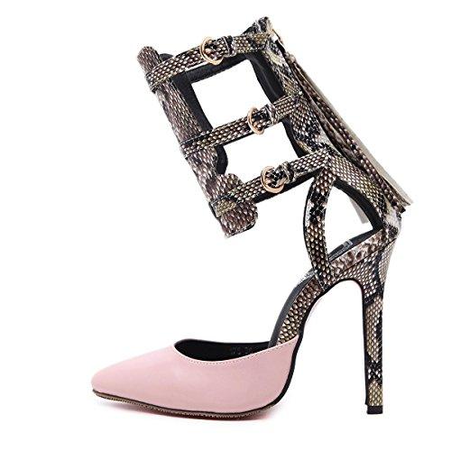 Pink L Señora Snake Party Shoes Tacón Dance Muy Bien De Punta Mujer Con yc Zapatos p16rpa