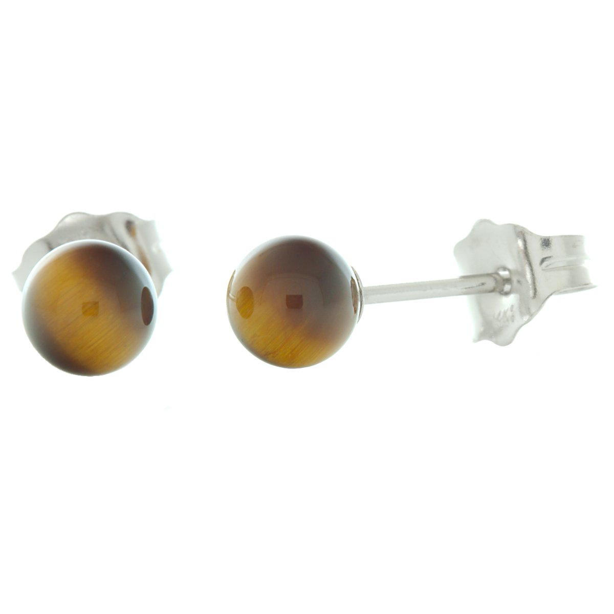 ae6b14f07 Amazon.com: Trustmark 14K White Gold 4mm Natural Brown Tigers Eye Ball Stud  Post Earrings: Jewelry
