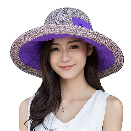 Promini Womens Sun Straw Hat Foldable Large Wide Brim Beach Hat