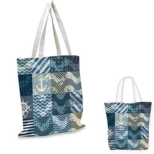 Nautical easy shopping bag Marine Theme Wave Patterns in Patchwork Style Boxes Squares Striped Anchor Print emporium shopping bag Blue Beige. ()
